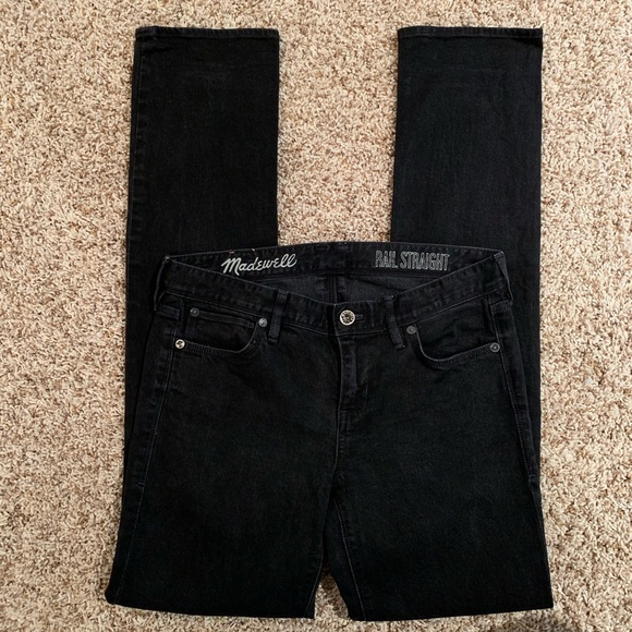 Madewell Denim - Madewell Rail Straight Jeans in Black Frost Wash